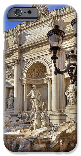 Facade iPhone Cases - Trevi fountain Rome iPhone Case by Joana Kruse