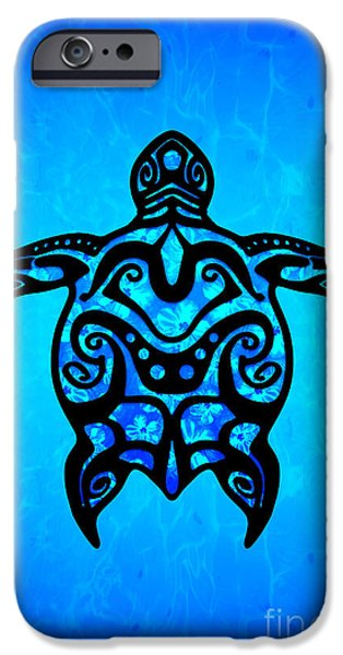 57692929cb55b Polynesian Tattoo iPhone 6 Case - Tribal Turtle Hibiscus by Chris MacDonald