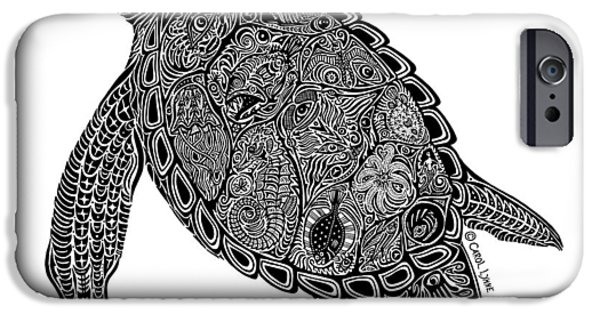 Reptiles Drawings iPhone Cases - Tribal Turtle I iPhone Case by Carol Lynne