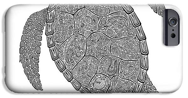 Reptiles Drawings iPhone Cases - Tribal Turtle II iPhone Case by Carol Lynne