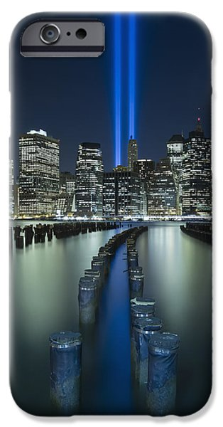 Twin Towers iPhone Cases - Tribute In Light iPhone Case by Evelina Kremsdorf