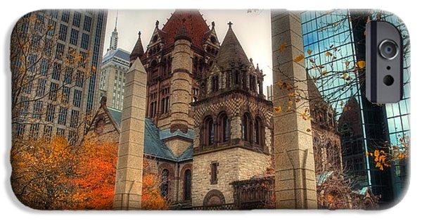 Boston Fall Scenes iPhone Cases - Trinity Church iPhone Case by Joann Vitali