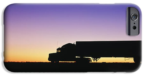 Copy iPhone Cases - Truck Parked on Freeway at Sunrise iPhone Case by Jeremy Woodhouse
