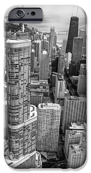 IPhone 6 Case featuring the photograph Trump Tower And John Hancock Aerial Black And White by Adam Romanowicz