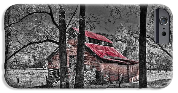 Old Barn Poster Photographs iPhone Cases - Tucked In iPhone Case by Debra and Dave Vanderlaan