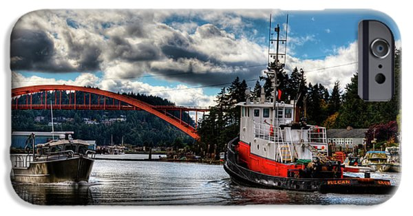Tugboat At The Rainbow Bridge IPhone 6 Case by David Patterson