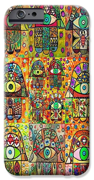 Invitations Paintings iPhone Cases - Twelve Hamsas iPhone Case by Sandra Silberzweig