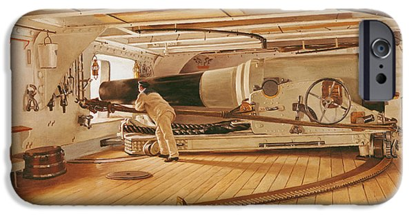 Weapon iPhone Cases - Twenty-Seven Pound Cannon on a Battleship iPhone Case by Gustave Bourgain
