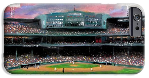 Baseball Pastels iPhone Cases - Twilight at Fenway Park iPhone Case by Jack Skinner