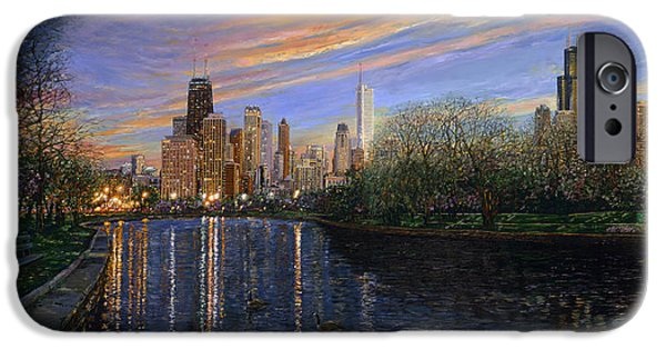 Chicago Paintings iPhone Cases - Twilight Serenity iPhone Case by Doug Kreuger