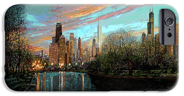 Chicago Paintings iPhone Cases - Twilight Serenity II iPhone Case by Doug Kreuger