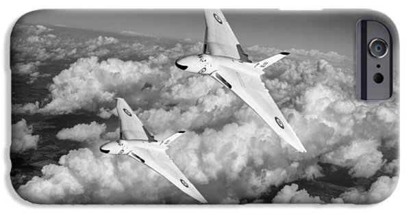 IPhone 6 Case featuring the photograph Two Avro Vulcan B1 Nuclear Bombers Bw Version by Gary Eason