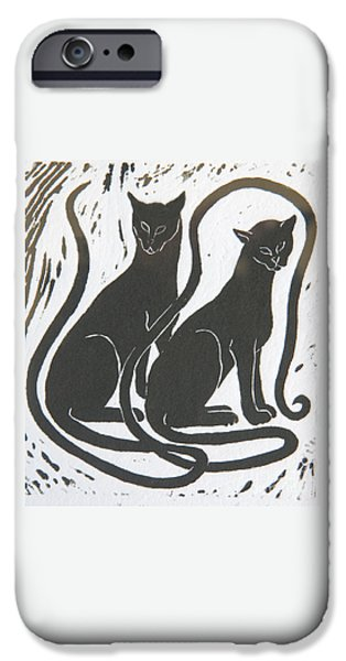 IPhone 6 Case featuring the drawing Two Black Felines by Nareeta Martin