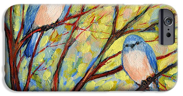 Red iPhone 6 Case - Two Bluebirds by Jennifer Lommers