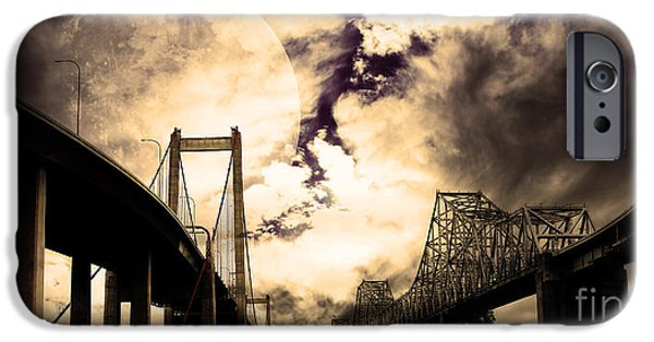 Bay Area Digital iPhone Cases - Two Bridges One Moon iPhone Case by Wingsdomain Art and Photography