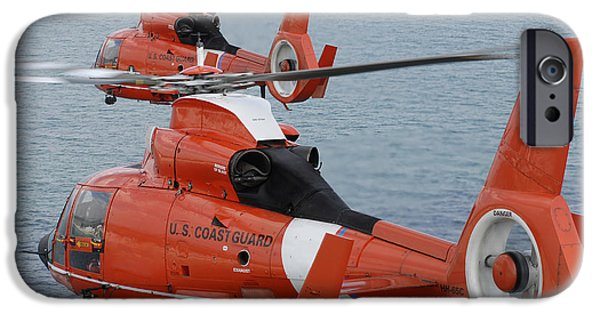 Law Enforcement iPhone Cases - Two Coast Guard Hh-65c Dolphin iPhone Case by Stocktrek Images