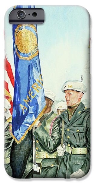 Patriotism Paintings iPhone Cases - Two Months After 9-11  Veterans Day 2001 iPhone Case by Carolyn Coffey Wallace