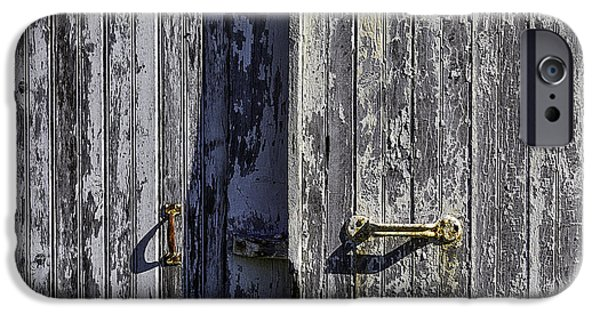 Chip iPhone Cases - Two Old White Doors iPhone Case by Garry Gay