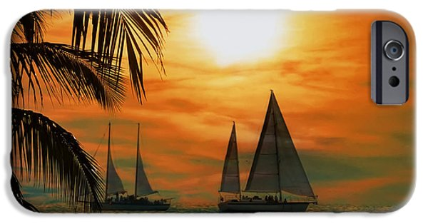 Ocean Sunset iPhone Cases - Two Ships Passing in the Night iPhone Case by Bill Cannon