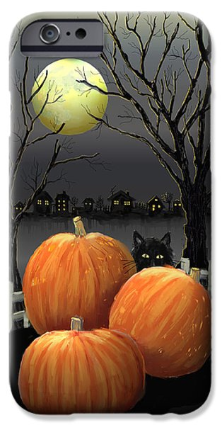 Halloween Digital iPhone Cases - Under The Full Moon iPhone Case by Arline Wagner