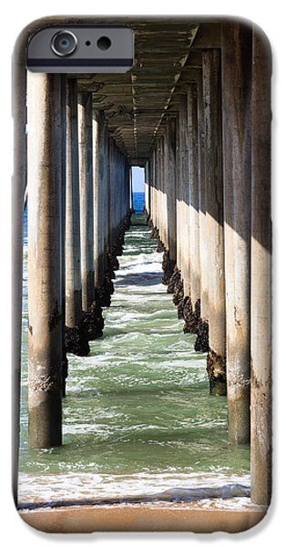 Orange County Photographs iPhone Cases - Under the Pier in Orange County California iPhone Case by Paul Velgos