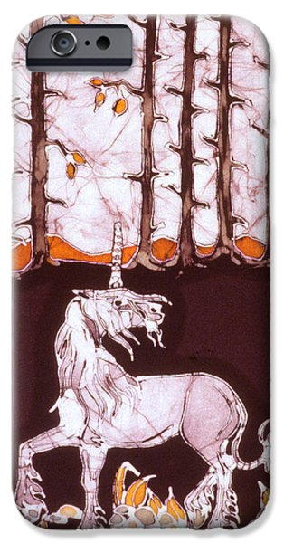 Fall Tapestries - Textiles iPhone Cases - Unicorn Below Trees in Autumn iPhone Case by Carol  Law Conklin