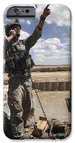 Raised Image iPhone Cases - U.s. Air Force Member Calls For Air iPhone Case by Stocktrek Images
