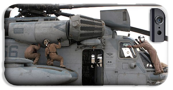 Iraq iPhone Cases - U.s. Marines Perform Preflight Checks iPhone Case by Stocktrek Images