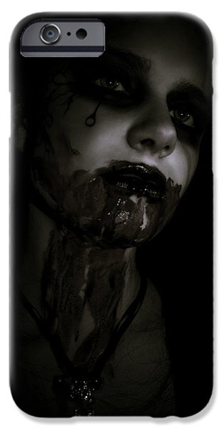 Scary Digital Art iPhone Cases - Vampire Feed 2 iPhone Case by Kelly Jade King