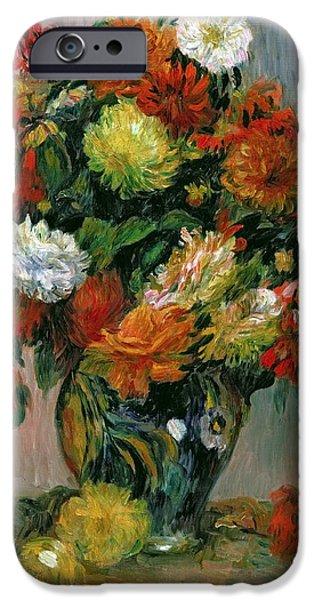 Flora iPhone Cases - Vase of Flowers iPhone Case by Pierre Auguste Renoir