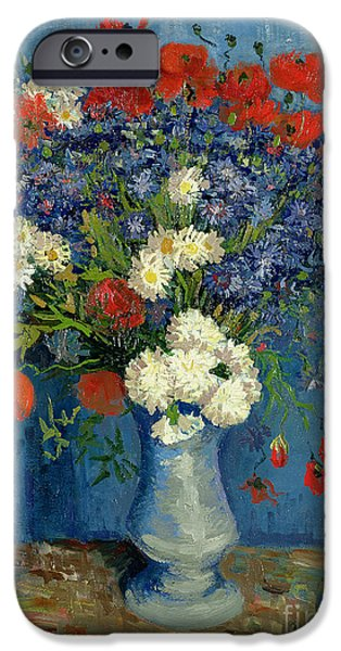 Vase iPhone Cases - Vase with Cornflowers and Poppies iPhone Case by Vincent Van Gogh