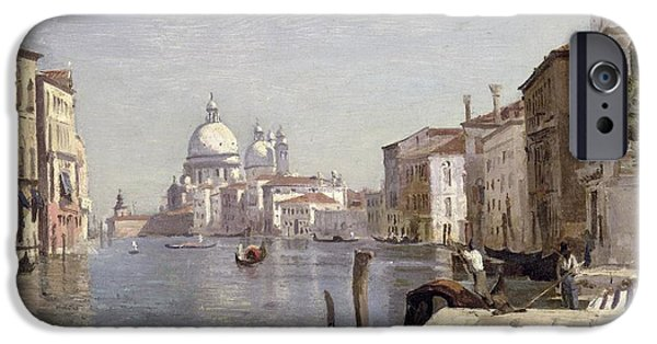 Venetian Canals iPhone Cases - Venice - View of Campo della Carita looking towards the Dome of the Salute iPhone Case by Jean Baptiste Camille Corot