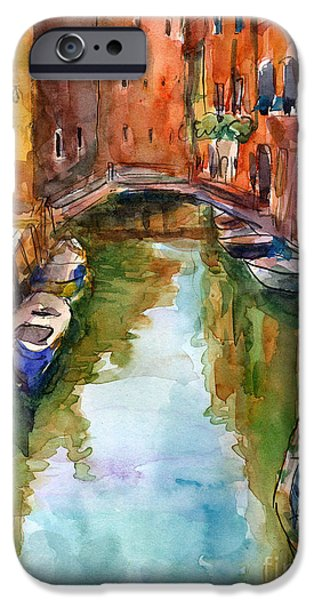 Street Drawings iPhone Cases - Venice Canal painting iPhone Case by Svetlana Novikova