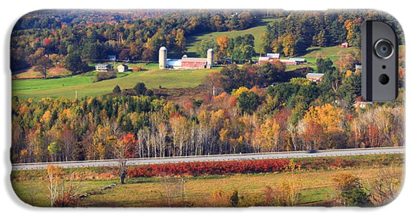 Autumn Foliage Photographs iPhone Cases - Vermont Countryside View Pownal iPhone Case by John Burk