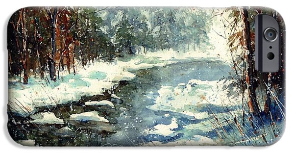 Village iPhone 6 Case - Very Cold Winter Watercolor by Suzann Sines