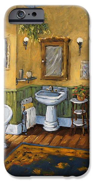 Quebec Paintings iPhone Cases - Victorian Bathroom by Prankearts iPhone Case by Richard T Pranke