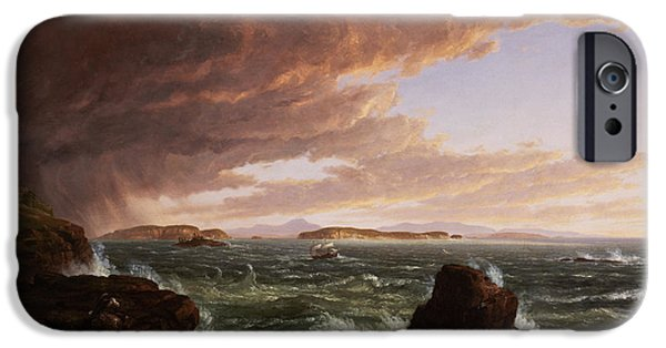 Storm iPhone Cases - View across Frenchmans Bay from Mt. Desert Island after a squall iPhone Case by Thomas Cole
