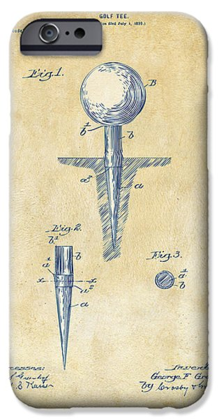 Play iPhone Cases - Vintage 1899 Golf Tee Patent Artwork iPhone Case by Nikki Marie Smith