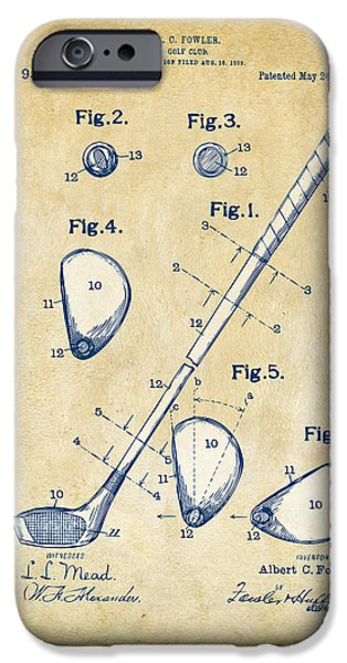 Blueprint iPhone Cases - Vintage 1910 Golf Club Patent Artwork iPhone Case by Nikki Marie Smith