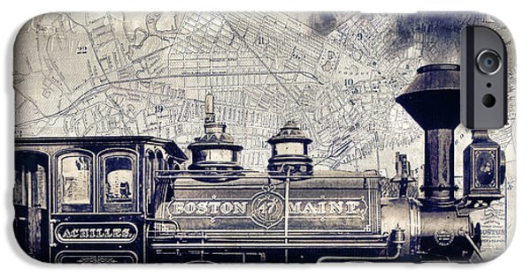 Steam Locomotive iPhone Cases - Vintage Boston Railroad iPhone Case by Mindy Sommers
