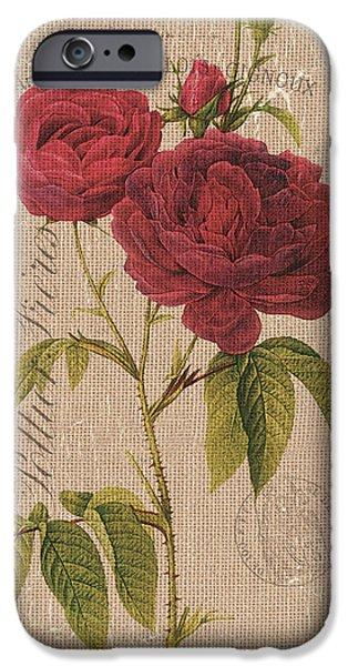 Red Rose iPhone 6 Case - Vintage Burlap Floral 3 by Debbie DeWitt