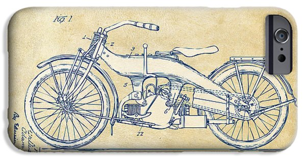 Us Open Drawings iPhone Cases - Vintage Harley-Davidson Motorcycle 1924 Patent Artwork iPhone Case by Nikki Smith