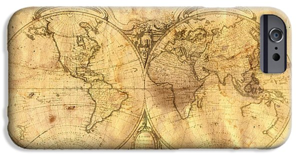 Pattern Books iPhone Cases - Vintage Map Of The World iPhone Case by Michal Boubin