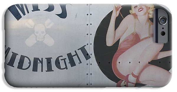 Pin-up iPhone Cases - Vintage Nose Art Miss Midnight iPhone Case by Cinema Photography