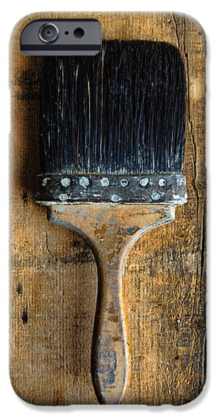 Painter Photographs iPhone Cases - Vintage Paint Brush iPhone Case by Jill Battaglia