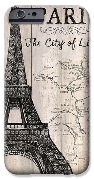 Brown iPhone 6 Case - Vintage Travel Poster Paris by Debbie DeWitt