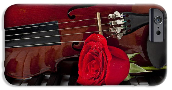 Red Rose iPhone 6 Case - Violin And Rose On Piano by Garry Gay