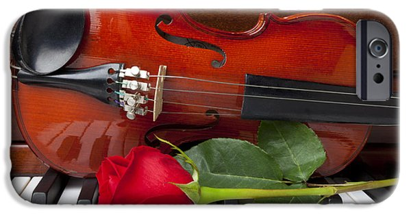 Red Rose iPhone 6 Case - Violin With Rose On Piano by Garry Gay