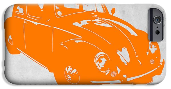 Modernism iPhone Cases - VW Beetle Orange iPhone Case by Naxart Studio