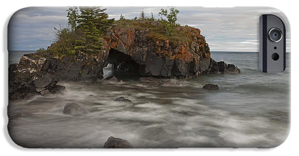 Portage iPhone Cases - Water Coming Into Shore Around A Rock iPhone Case by Susan Dykstra
